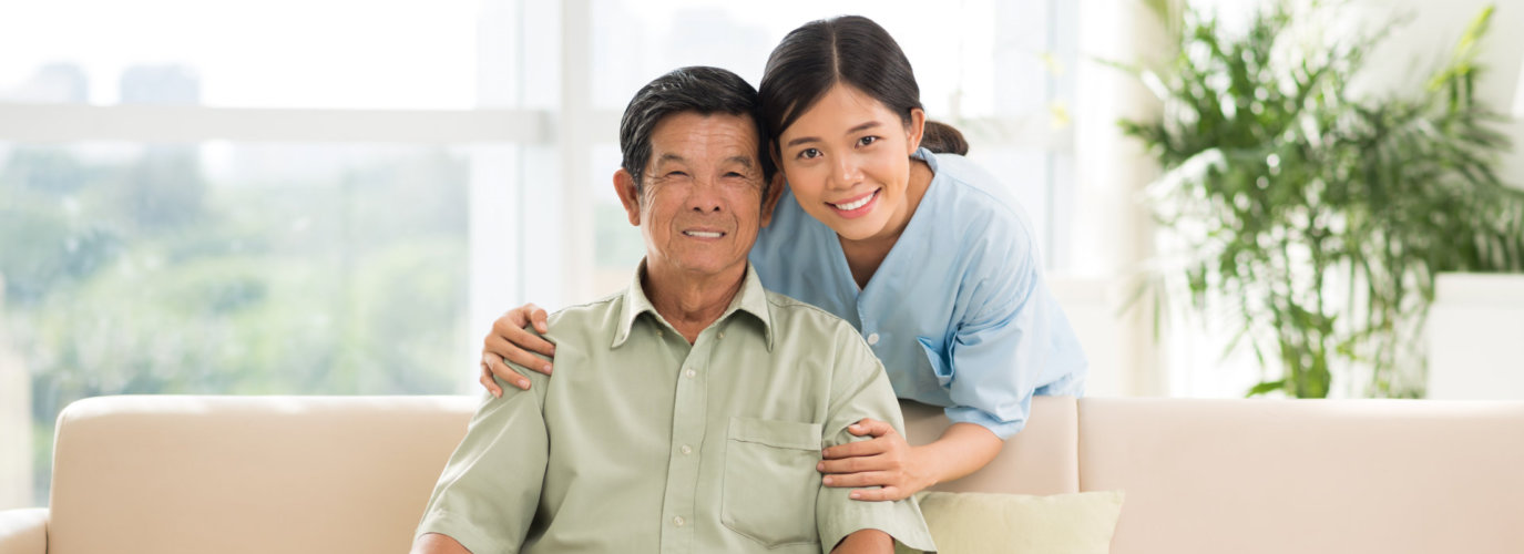 senior man and his caregiver